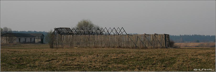 Старый сарай - каркас поле весна фото фотосайт