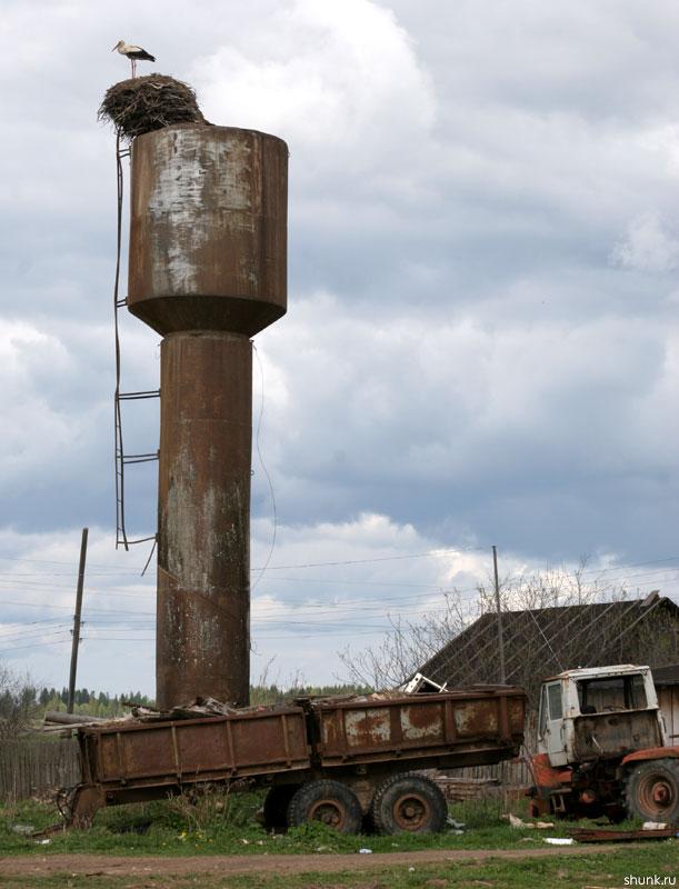 Лучше аист в небе чем .... сломанный трактор под окном - аист трактор деревня фото фотосайт