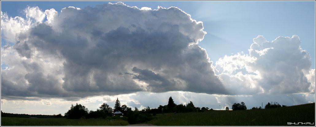 Панорама с тучкой - лето небо поле тучи фото фотосайт