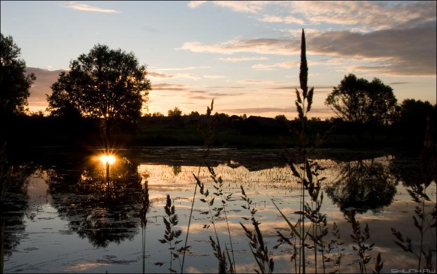 Вечернее купание солнца - закат лето пруд фото фотосайт