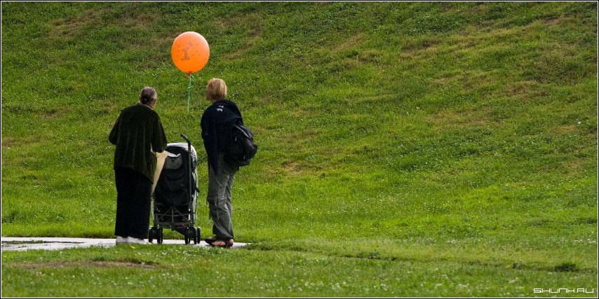 Свое солнце - трава шарик коляска ребенок фото фотосайт
