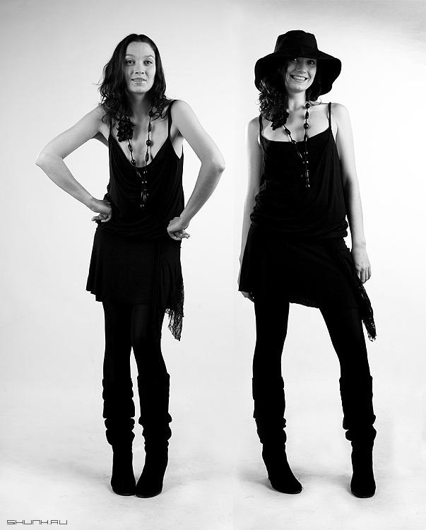 Двое, я и моя тень - студия ритик модель шляпа чернобелое фото фотосайт