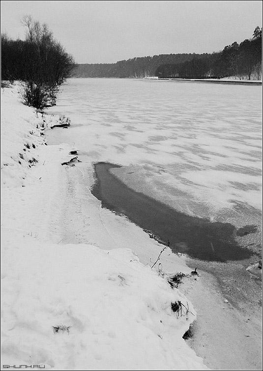 Про-талина - зима чб чернобелый берег фото фотосайт