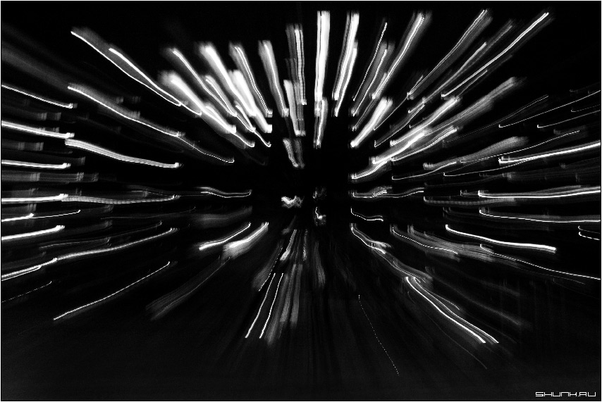Ночной Ёж - чб чернобелое огни дома фото фотосайт