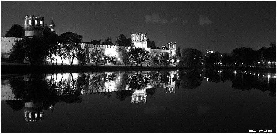 Пруд у Новодевичьего - чб ночь москва монастырь фото фотосайт