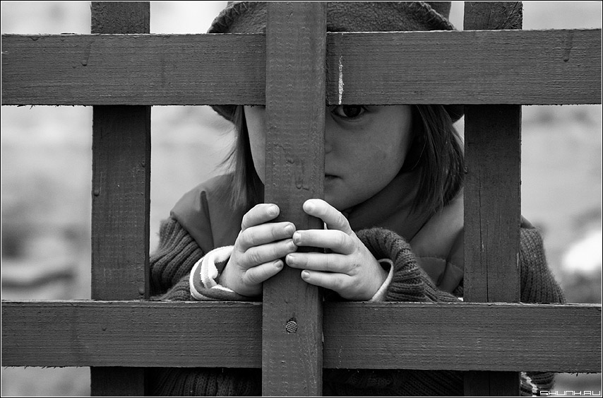 * * * - забор чб ребенок ручки руки фото фотосайт