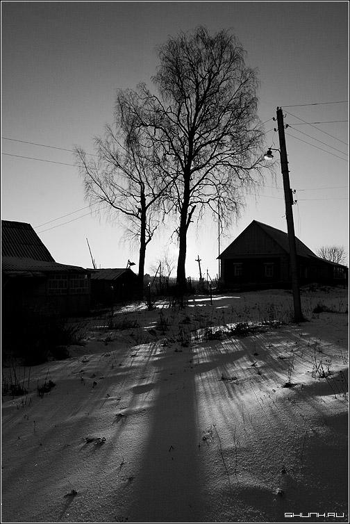 Зимний Черно-белый Рассвет - зима деревня ильинское солнце рассвет черно белое фото фотосайт