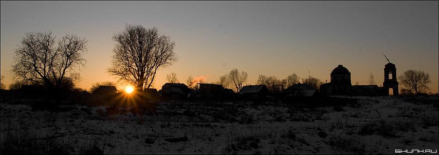 Рассвет в деревне - рассвет деревня церковь зима фото фотосайт