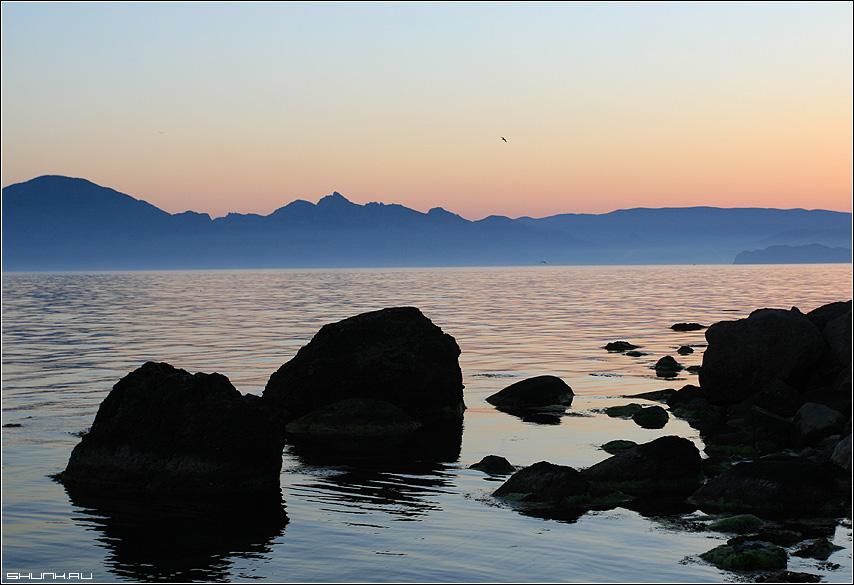Черные камни Черного моря - черное море крым кара-даг вечер закат фото фотосайт