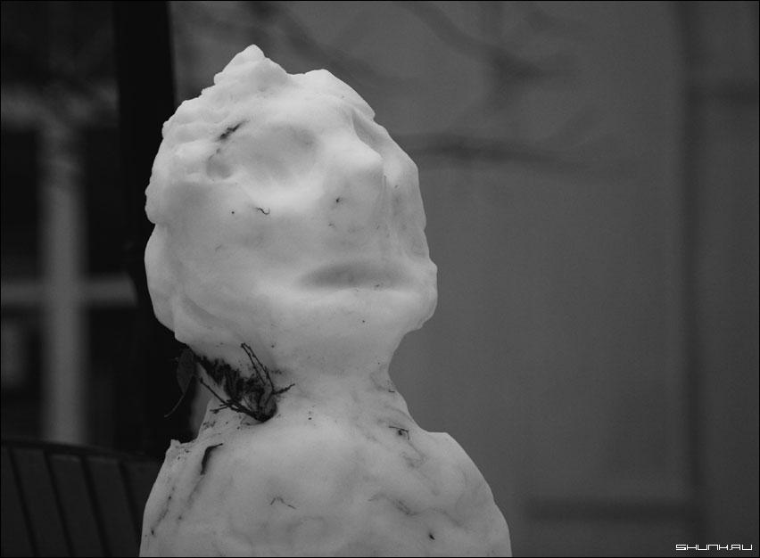 Мумия зимы - снеговик чернобелое фото зима фото фотосайт