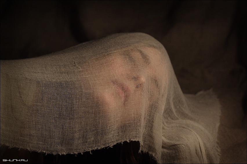 Еще один странный портрет - холст голова марля портрет бред фото фотосайт