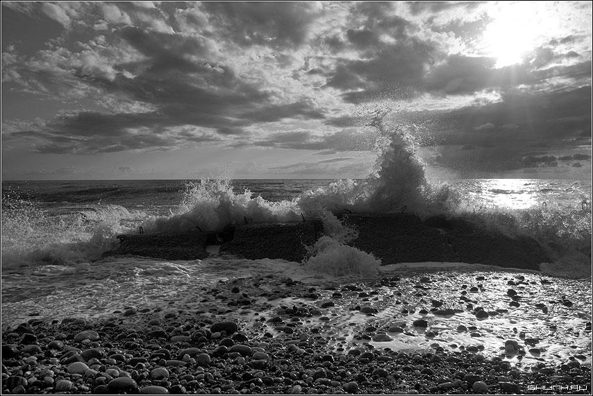 Игра со стихией - сочи хоста море волна вода небо чб черно-белое фото фотосайт