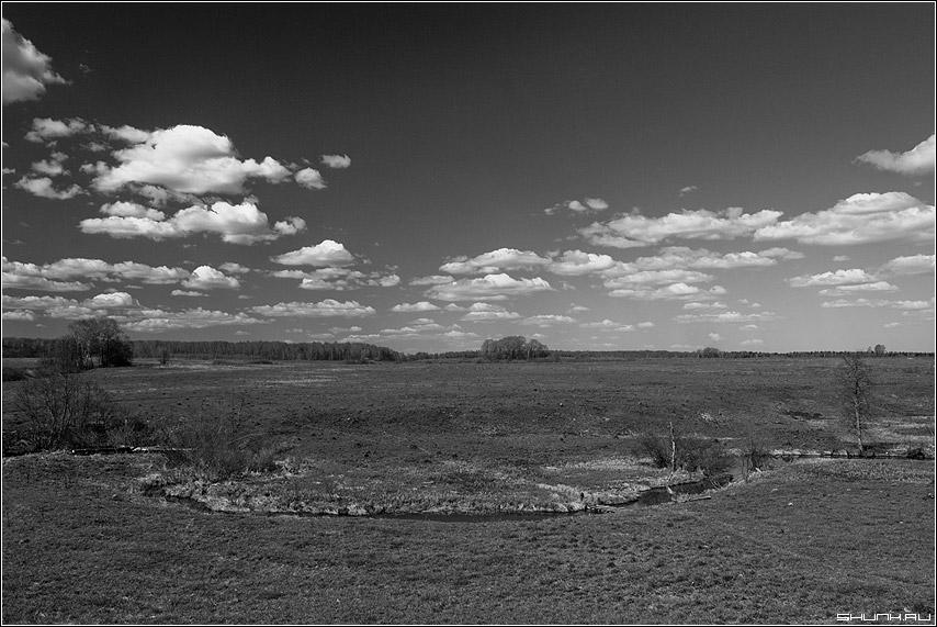 Изгиб реки - крюково река руть небо облака поле фото фотосайт
