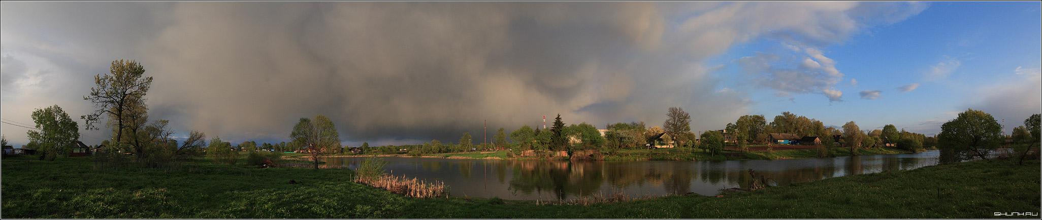 Панорама д. Шустиково - пруд небо дождь закат солнце деревня шустиково сторона колодец панорама фото фотосайт
