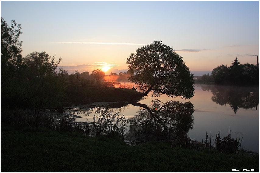 6 утра. Восход. - шустиково деревня пруд дерево отражение солнце восход небо труба дым фото фотосайт