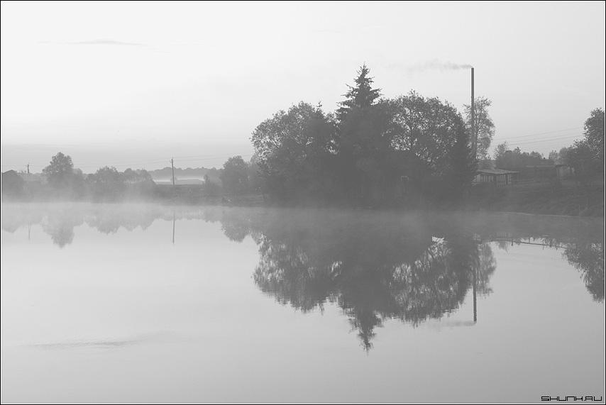 Туман - утро пруд деревня туман елка труба небо отражение чб чернобелое фото фотосайт