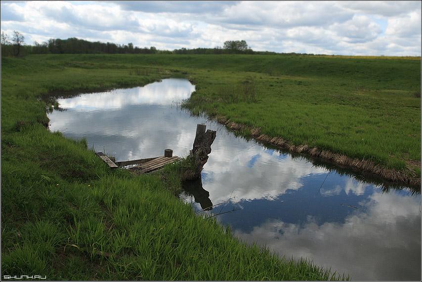 Устье реки Руть - река руть небо вода берег крюково коряга мосток мост лес фото фотосайт