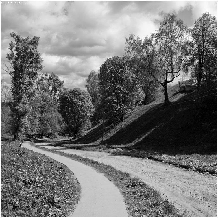 Дорога к реке - дорога чб квадрат небо деревяь верея фото фотосайт