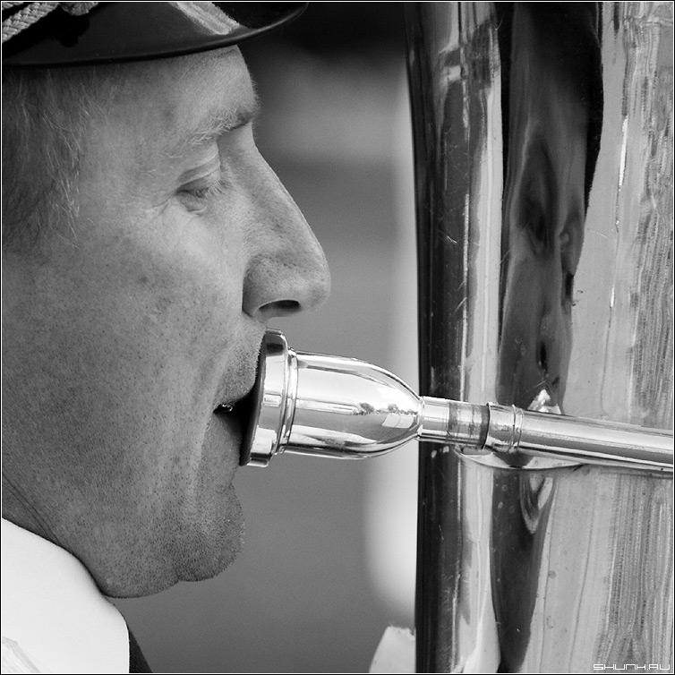 Трубач - труба оркестр трубач отражение чб чернобелое квадрат тубист фото фотосайт