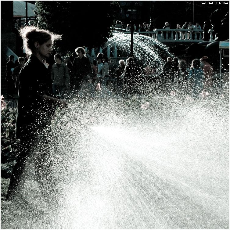 Есть такая профессия - цветы поливать - фонтан вода брызги манежка полив cold квадрат фото фотосайт