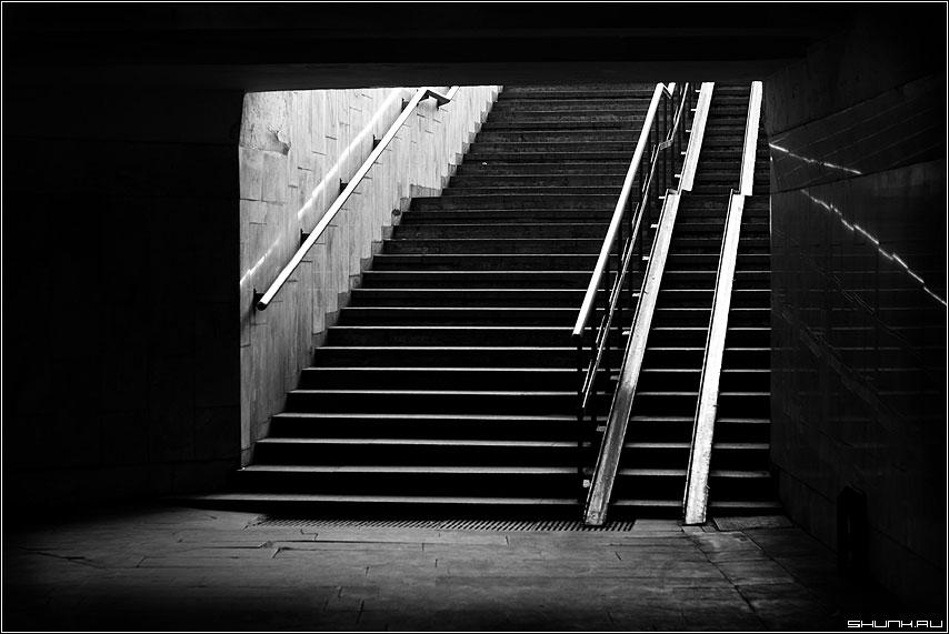 Переход - переход чб черно-белое ступени свет фото фотосайт