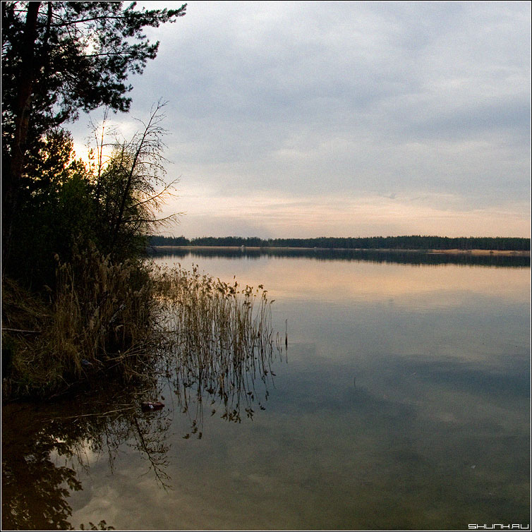 Закат на карьере - карьер тверь вода небо берег квадрат фото фотосайт