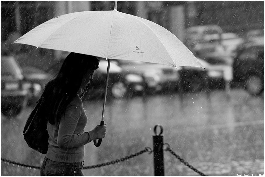 Последний дождь июля - девушка июль лето дождь зонт чернобелая фото фотосайт