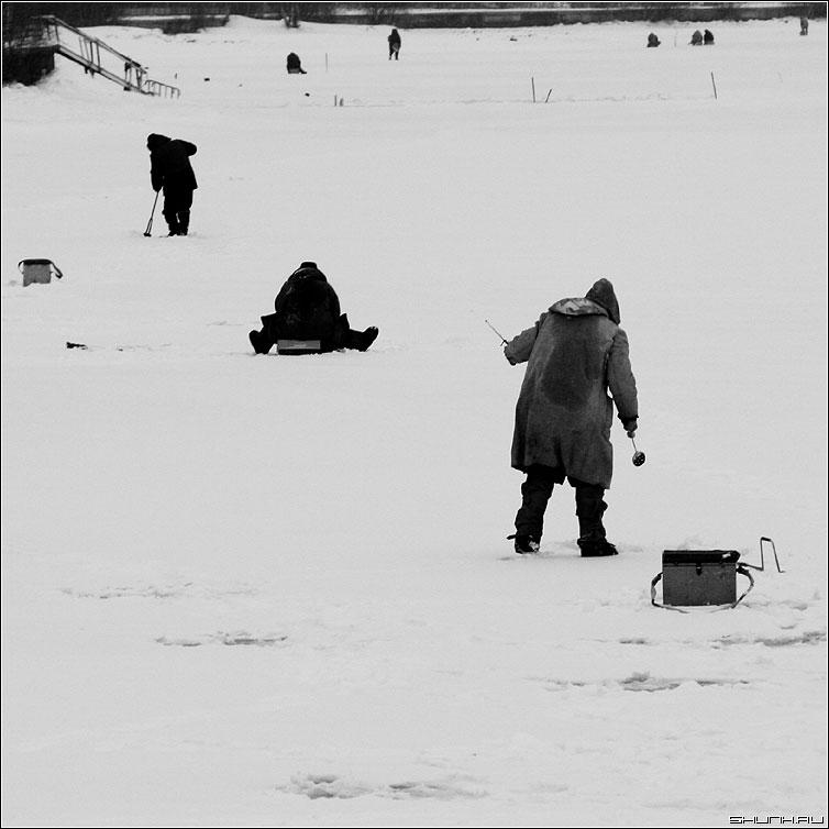Рыбаки ловили рыбу - зима лед рыбаки чернобелая квадрат фото фотосайт