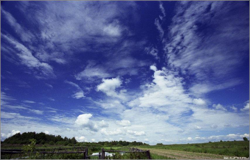 Узоры облаков - kodak пленка небо деревня лето фото фотосайт