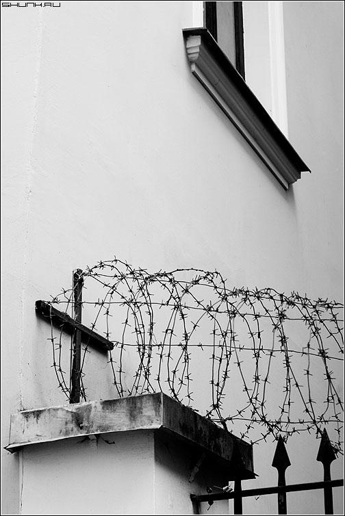 ...дом казенный предо мной... - калючка окно кресты черно-белая круг фото фотосайт