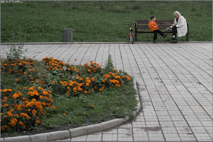 Оранжевое настроение - оранжевое цвет мальцик бабушка детство фото фотосайт