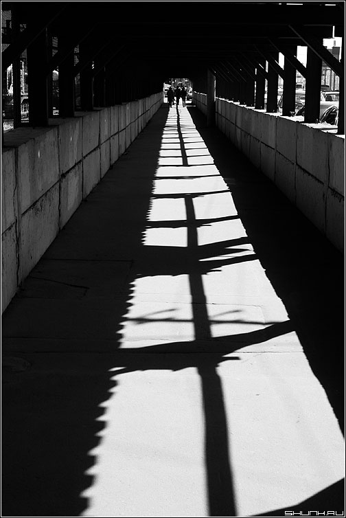 Ковровая дорожка - чёрнобелая свет тень люди переход фото фотосайт