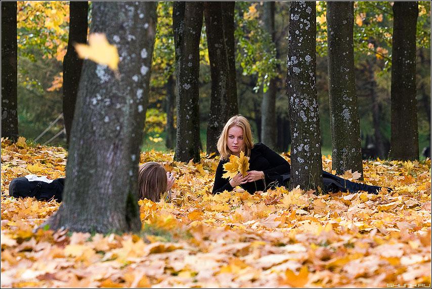 На память... - осень листва девушки клен листья деревья фото фотосайт
