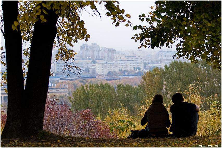 На Воробьевых... - парочка он она листва дерево москва вид листья любовь фото фотосайт