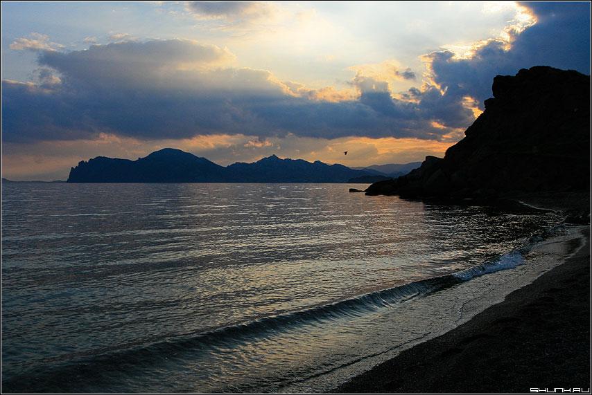 На закате дня - небо закат солнце лучи крым чайка кара-даг фото фотосайт
