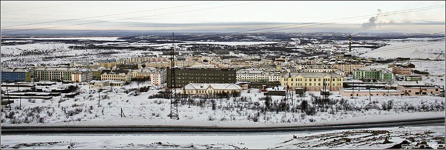 Панорама Никеля - никель дома зима панорама фото фотосайт
