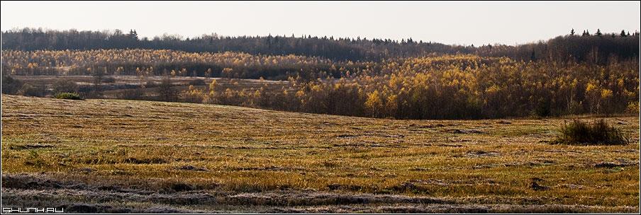 Осенние мотивы - осень холмы поля деревня 30x90 фото фотосайт