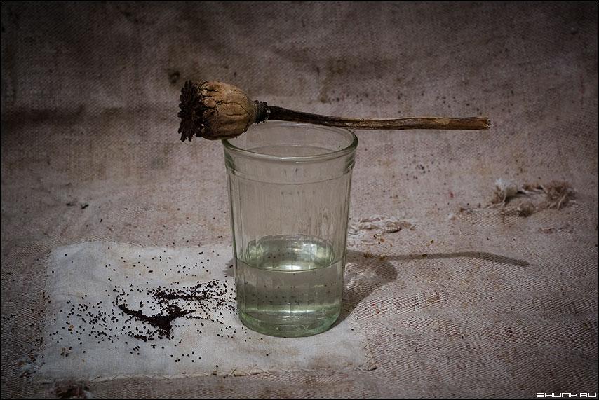 У каждого есть - ПРАВО НА ВЫБОР! - натюрморт стакан алкоголь водка мак холст мешок выбор фото фотосайт