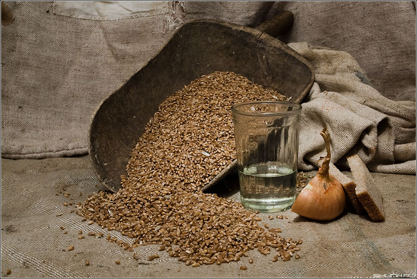 Пшеничная (с лучком) - натюрморт стакан алкоголь водка хлеб лук мешок фото фотосайт