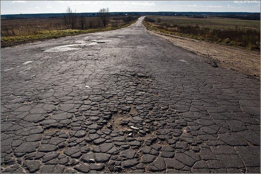 Дорога на Калугу... - деревня дорога горизонт осень ноябрь фото фотосайт