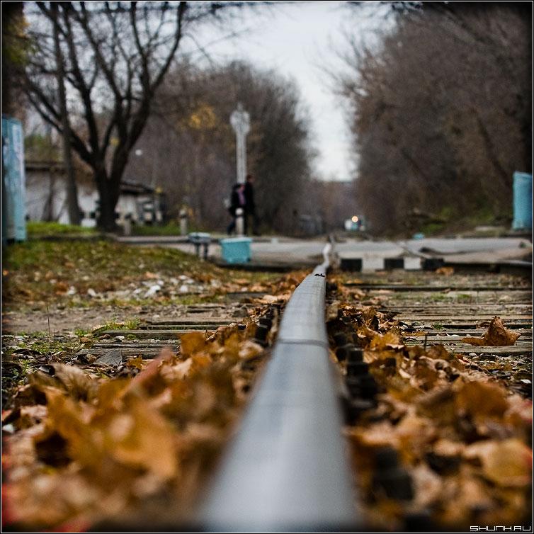 Про настроение - дорога железная рельсы листва осень квадрат цвет он она парочка фото фотосайт