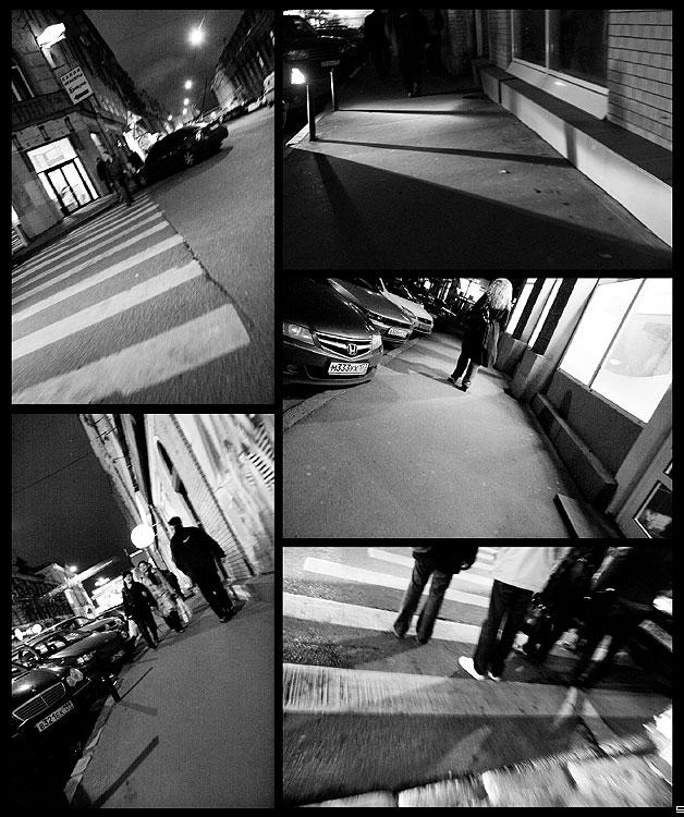 Уличный коллаж - коллаж улица чёрнобелое вечер огни люди фото фотосайт