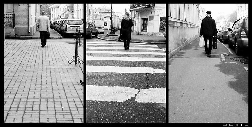 От меня... - люди улица разные обработка коллаж чёрнобелые контраст фото фотосайт