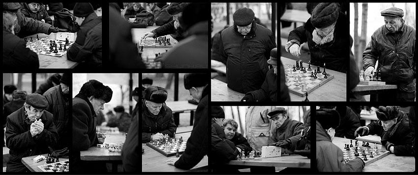 Шахматные баталии - шахматы чёрнобелые мужики деды коллаж фото фотосайт