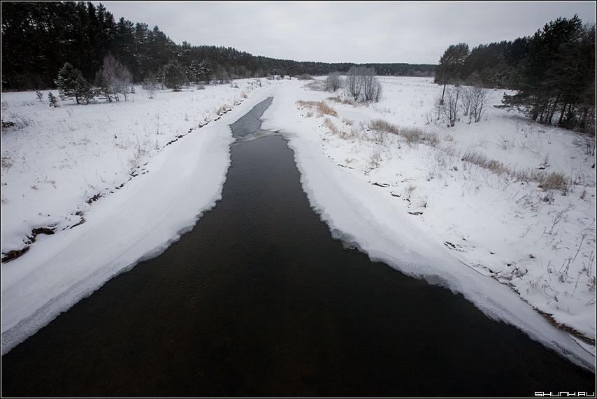 Проталина на р. Осуга - зима река проталина тетечние лес симметрия фото фотосайт