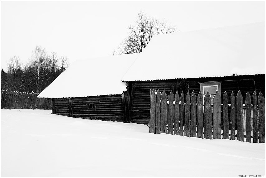 Обветшалая моя... - деревня сарай двор дом забор зима снег чёрно-белое фото фотосайт