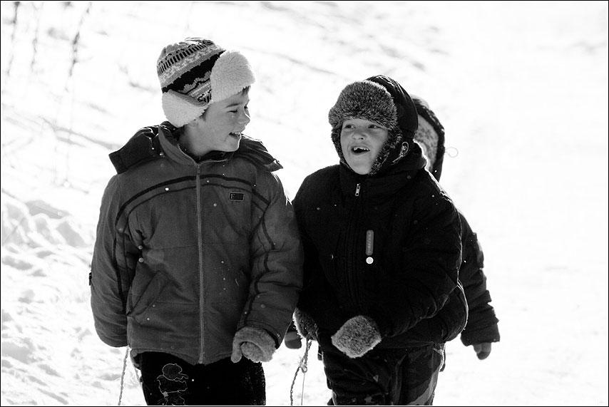 Товарищи - дети горка санки снег зима товарищи друзья улыбка разговор фото фотосайт