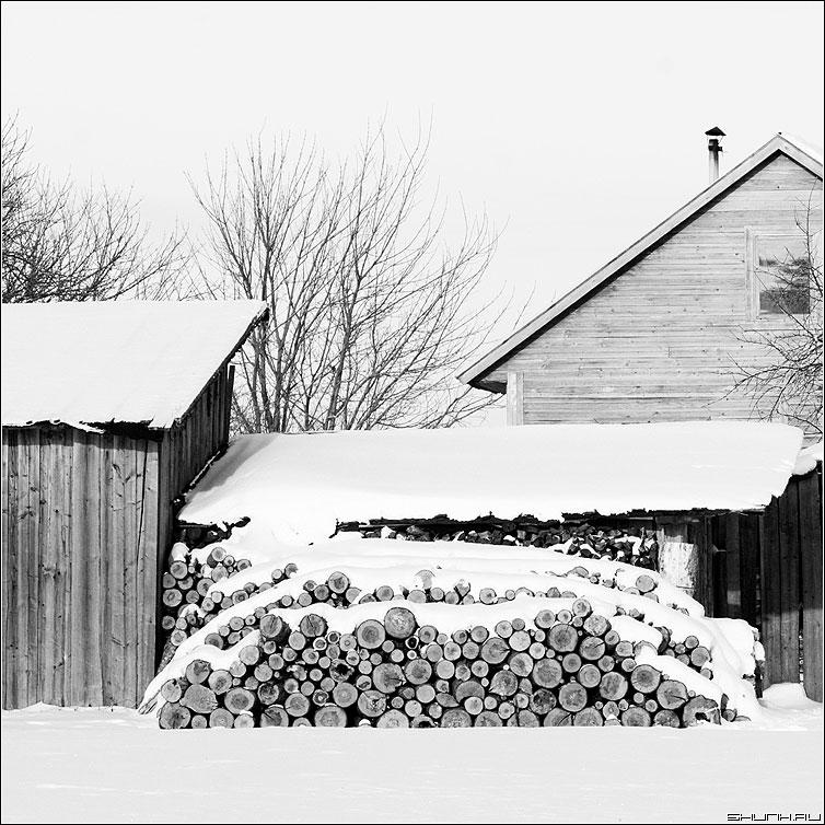 За двором - дрова снег зима деревня двор квадрат чёрно-белая фото фотосайт