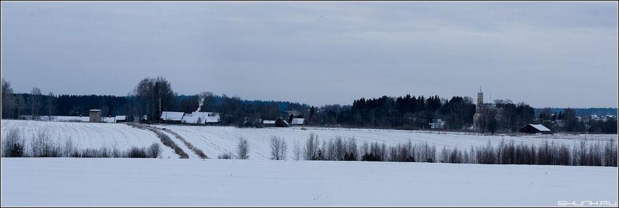 Холмы русских просторов - церковь холмы зима снег голубое синее синий лес 90x30 фото фотосайт
