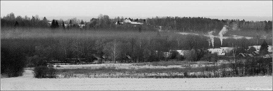 Утро одной деревеньки - таложня деревня село дым печки утро рассвет зима снег -26 градусы фото фотосайт